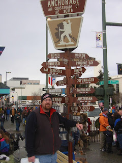 David Brodosi at the starting line for Iditarod race in alaska