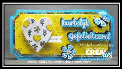 """Slimline-kaart met een hart dat open te vouwen is, een bloem, een vlinder en """"hartelijk gefeliciteerd"""" met schaduw. Slimline card with a fold-open heart, a flower, a butterfly and """"Happy Birthday"""" (Dutch words) with shadow."""