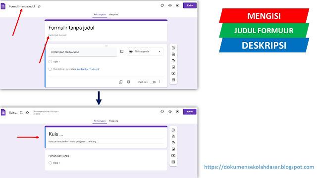 cara mengisi judul & deskripsi formulir (google form) untuk kuis