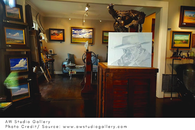paintings and sculptures displayed in the AW Studio Gallery