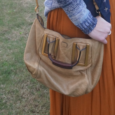 chloe ethel in light khaki with amber maxi skirt and blue knit | awayfromtheblue