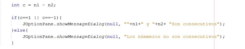 Determinar si dos números son consecutivos en Java