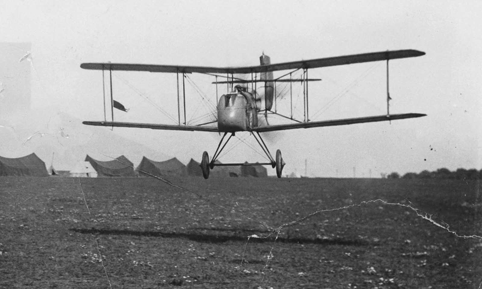 A British Commander starting off on a raid, flying an Airco DH.2 biplane.