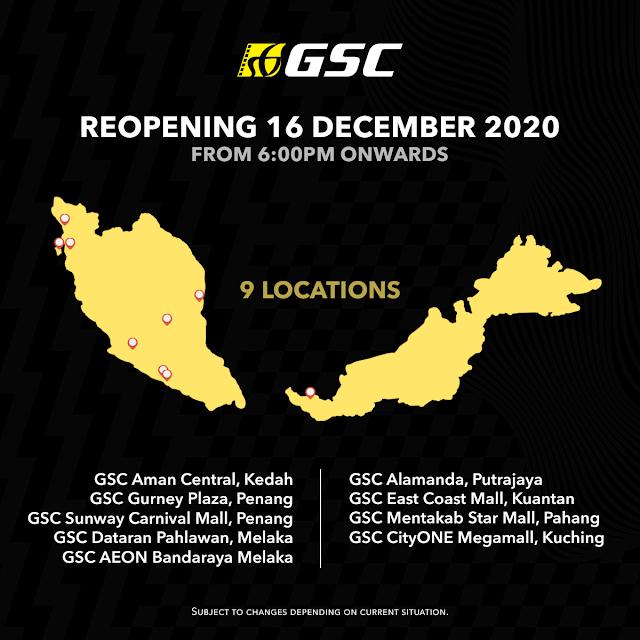 6 Lokasi Pawagam GSC Dibuka Semula Pada 16 Disember Ini