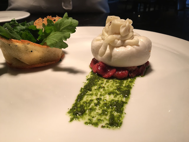 Burrata cheese with strawberry confit