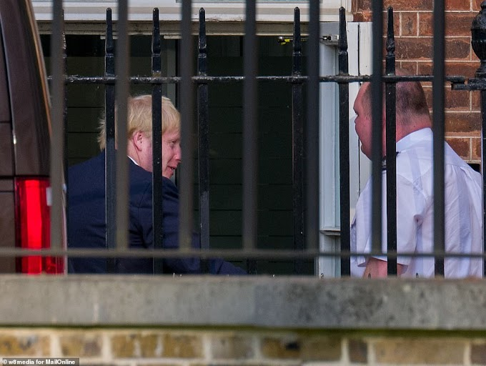 UK prime minister, Boris Johnson arrives at Downing Street ahead of his return to work
