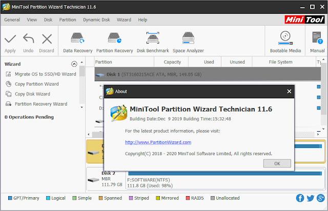 Screenshot MiniTool Partition Wizard Technician 11.6 Full Version
