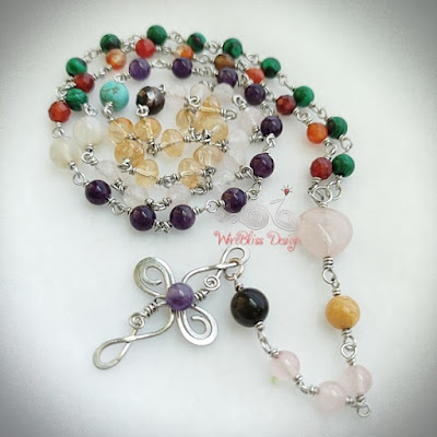Wire Wrapped Rosary with Mixed Gemstones
