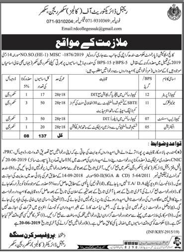 Sindh College Education Department Jobs 2019 June Karachi