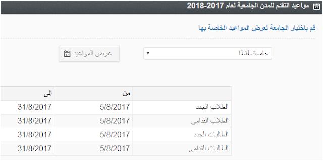 جامعة طنطا - مواعيد التقديم للمدن الجامعيه للعام 2018 - 2017