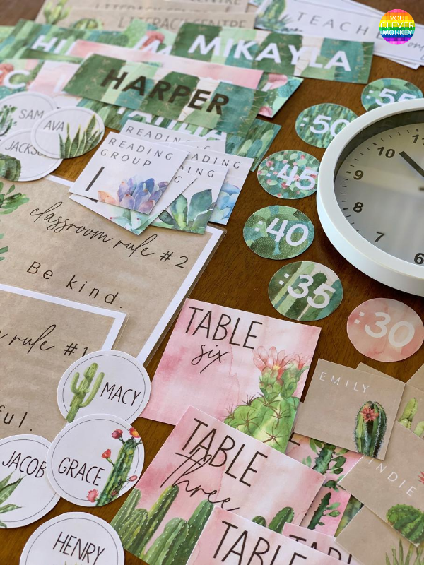 CACTUS Classroom Labels + Signs Pack | you clever monkey