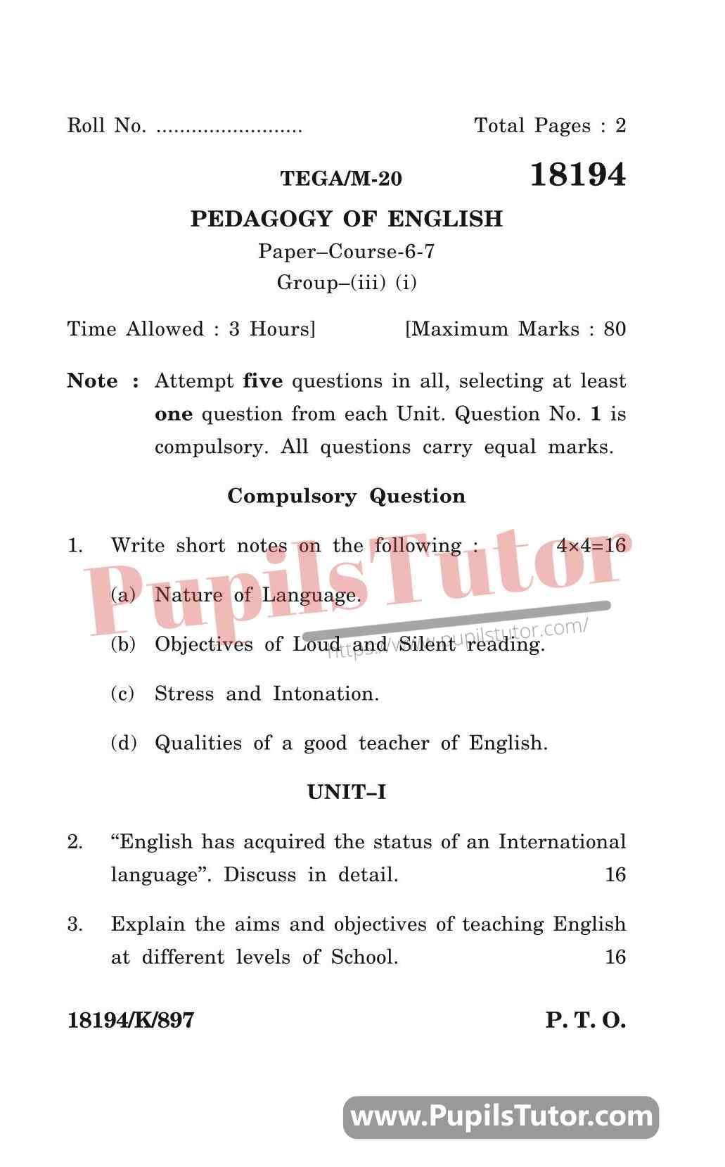 KUK (Kurukshetra University, Haryana) Pedagogy Of English Question Paper 2020 For B.Ed 1st And 2nd Year And All The 4 Semesters Free Download PDF - Page 1 - Pupils Tutor