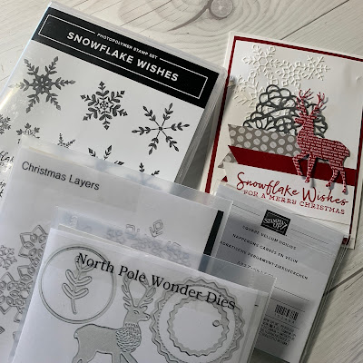 Stamp sets and Dies used to create this snowflake and deer Christmas Card