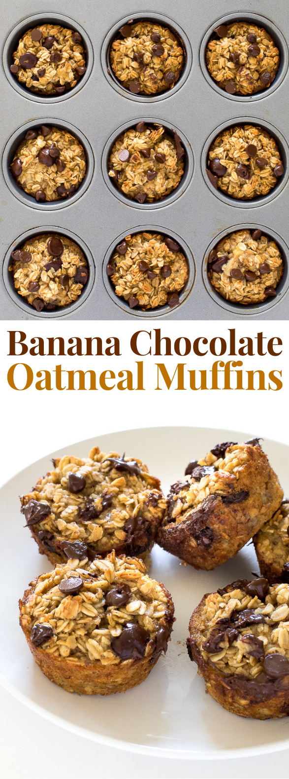 Healthy Banana Chocolate Chip Oatmeal Muffins #healthyrecipe #breakfast