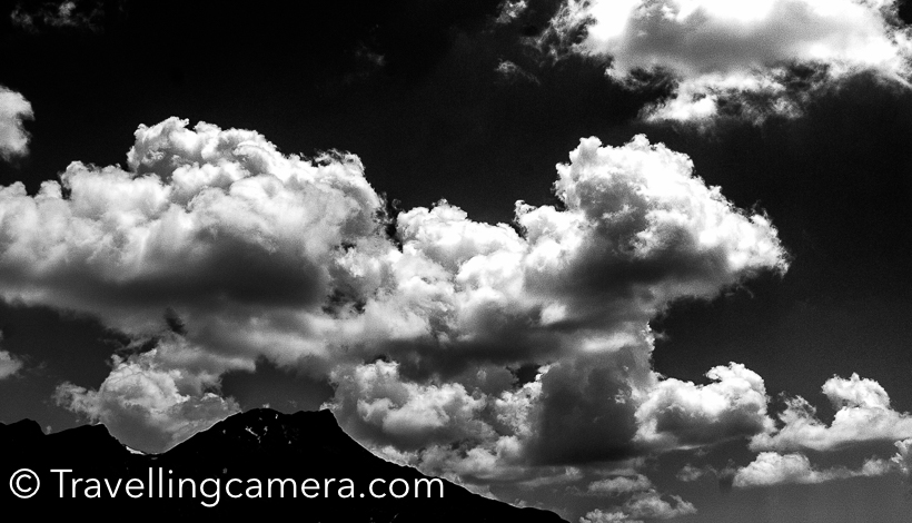 I clicked hundreds of cloud photographs in Kashmir. If you are lucky, these clouds also try to surround you from closer distance. Especially in early morning and late evening. Most of the times, these hills get drizzle.