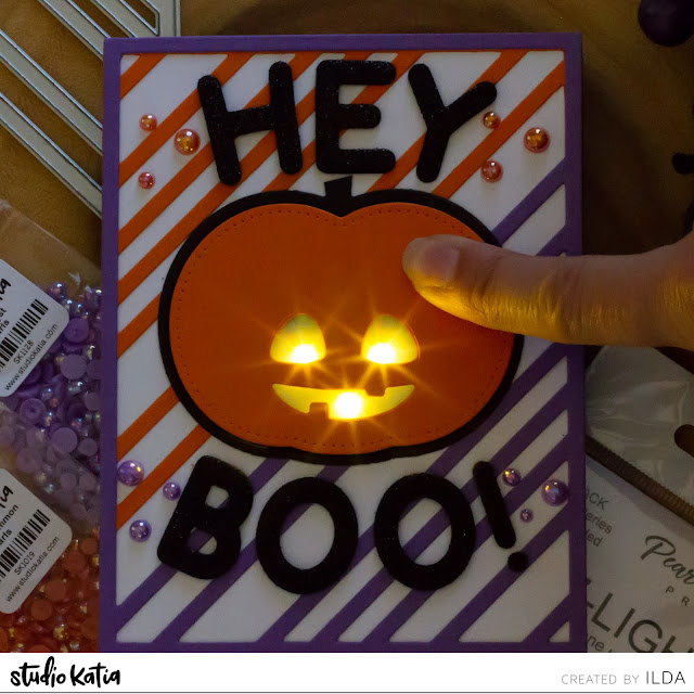 Halloween, Light Up, EZ-Light Pack, Interactive Card, miss you, pumpkin,Studio Katia,Chunky Alphabet, Card Making, Stamping, Die Cutting, handmade card, ilovedoingallthingscrafty, Stamps, how to, card