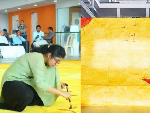 Pecahkan Rekor, Mahasiswi Ini Buat Lukisan dari Bubuk Kunyit