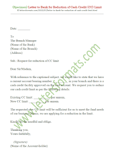 request letter to bank for decrease cash credit limit