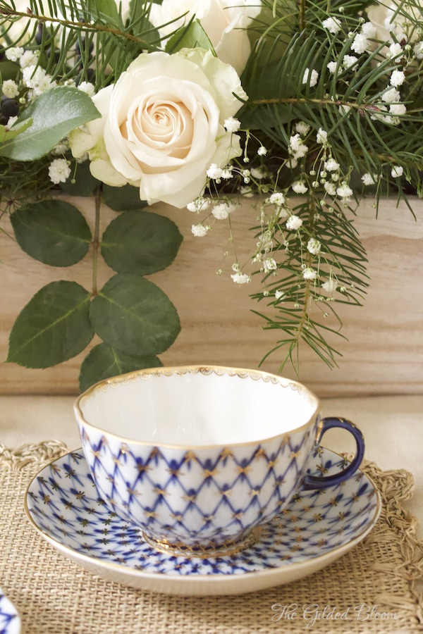 Teacup- Fresh Flowers Styled in a Long Wooden Bowl- www.gildedbloom.com