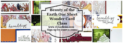 Register for my Beauty of the Earth One Sheet Wonder Online Card Class!  Join live or watch the replay.  Click here to register by June 21, 2021.