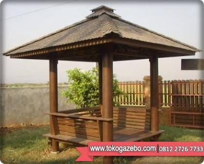 Gazebo Glugu Segi Empat Atap Sirap