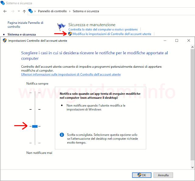 Windows 10 finestra Pannello di controllo Impostazioni Controllo dell'account utente