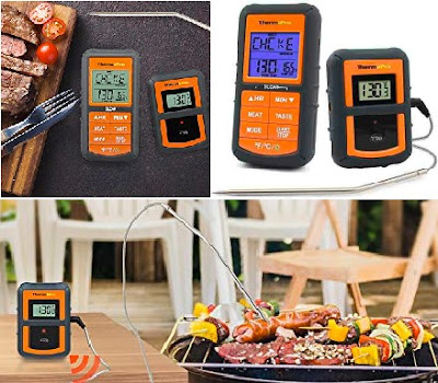 ThermoPro Cooking Thermometer with Remote TP-07 Battery Powered Smart Temperature Monitor with Probe