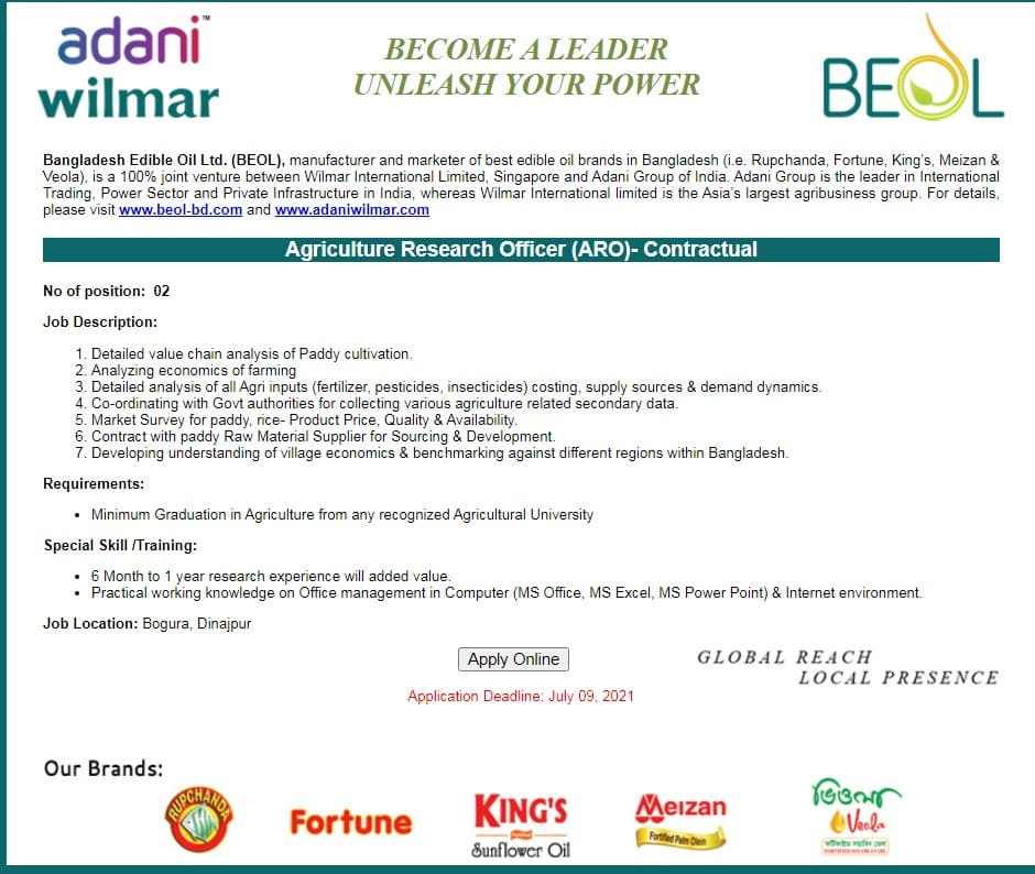 Bangladesh Edible Oil Ltd Job Circular 2021