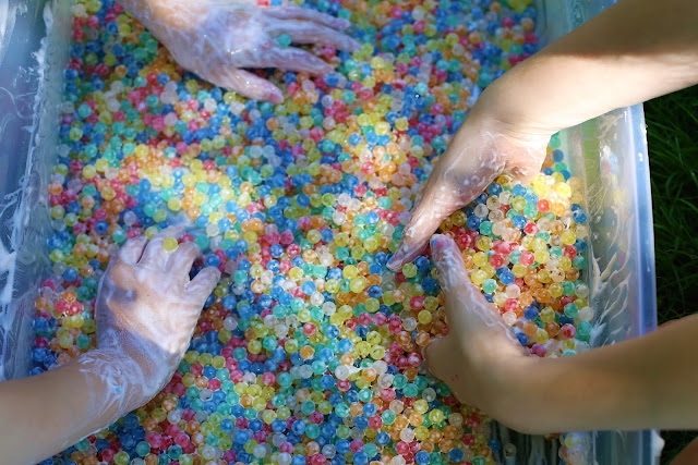 Water Beads & Soap Foam Sensory Bin
