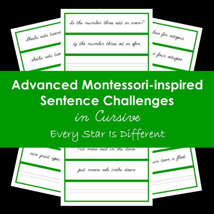 Advanced Montessori-inspired Sentence Challenges in Cursive