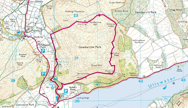 Route map of the Gowbarrow fell walk, starting from the car park at Aira Force. This is one of the best Ullswater walks in the Lake District.