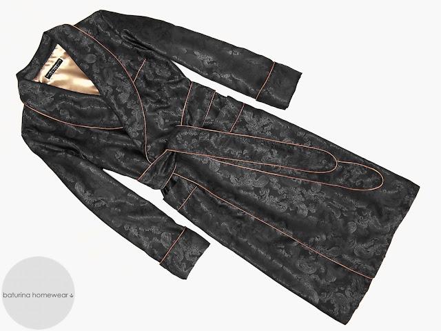 Men's luxury black paisley silk dressing gown gentleman's long lightweight lounge robe vintage english style