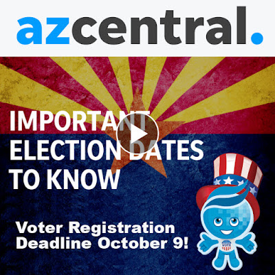 snapshot from azcentral story referenced in blog, featuring azcentral logo, arizona flag backdrop and text: Important Election Dates to Know.  Voter Registration Deadline Oct. 9.  Image of Rio mascot splash wearing a patriotic top hat and voter button