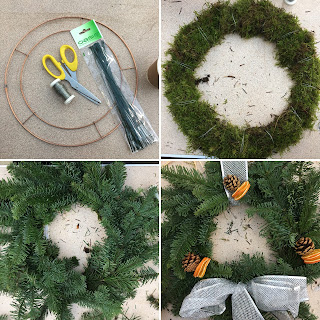 Montage of photographs showing the construction of a wreath