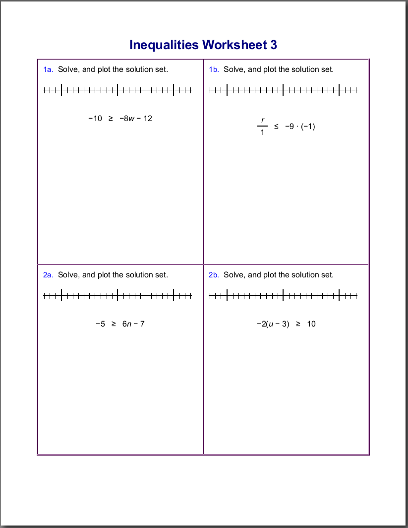 Workbooks plot and theme worksheets : Worksheets for inequalities