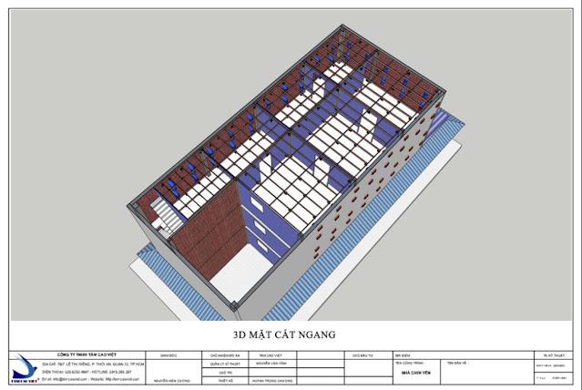 Bản vẽ thiết kế nhà yến mặt cắt ngang nhìn từ trên xuống tại Tri Tôn An Giang
