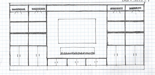 drawing of large DIY entertainment center