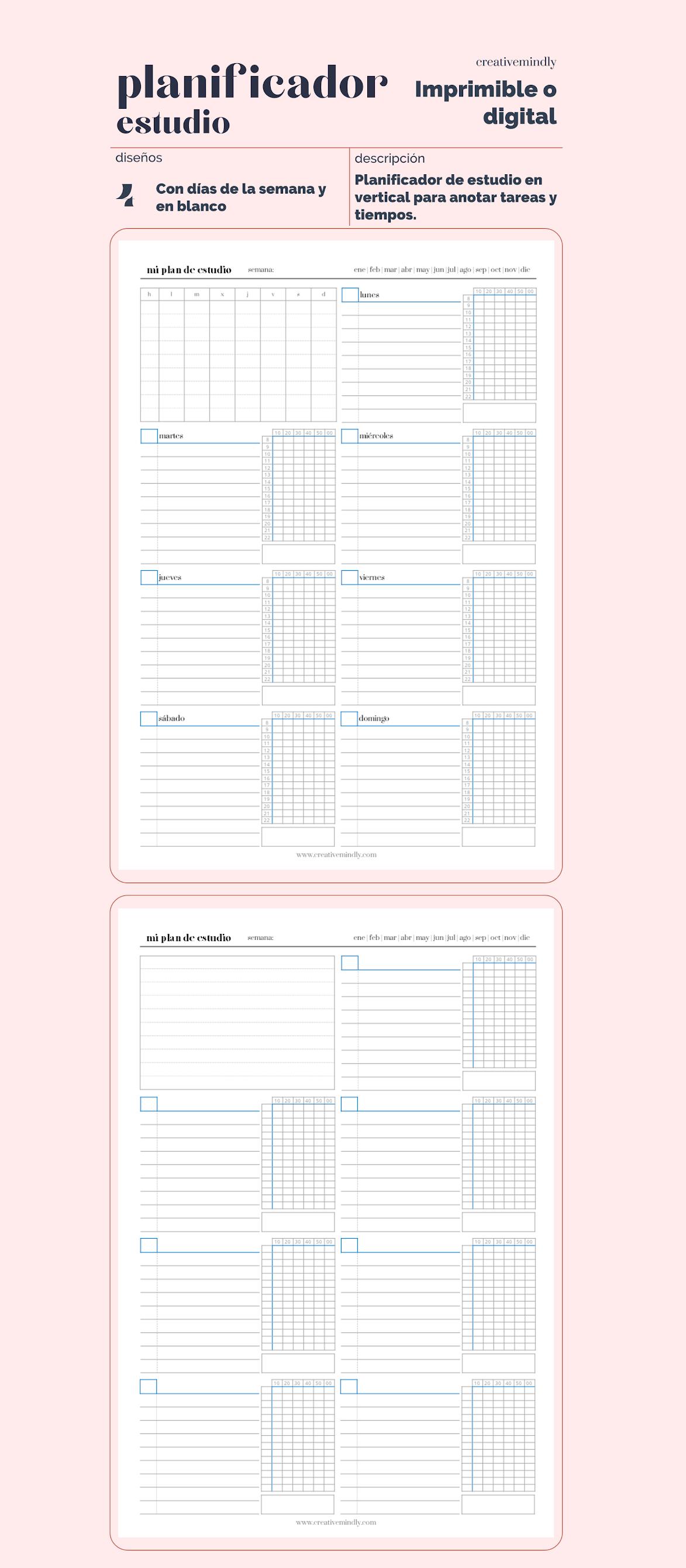 planificador gratis imprimible estudio tiempo