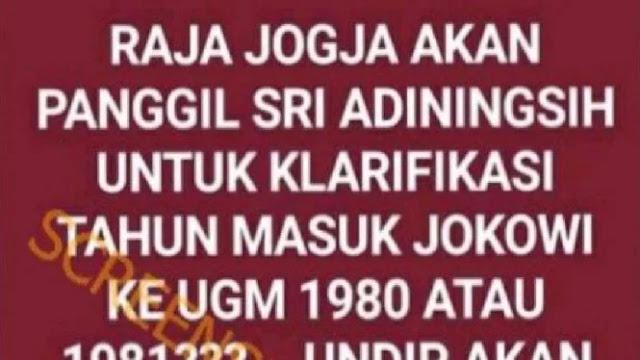 Sri Sultan Pertanyakan Keaslian Ijazah UGM Jokowi, Cek Faktanya