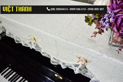 Bán Khăn phủ đàn Piano ren hoa hồng trắng - KU08 Giá Rẻ. Tphcm