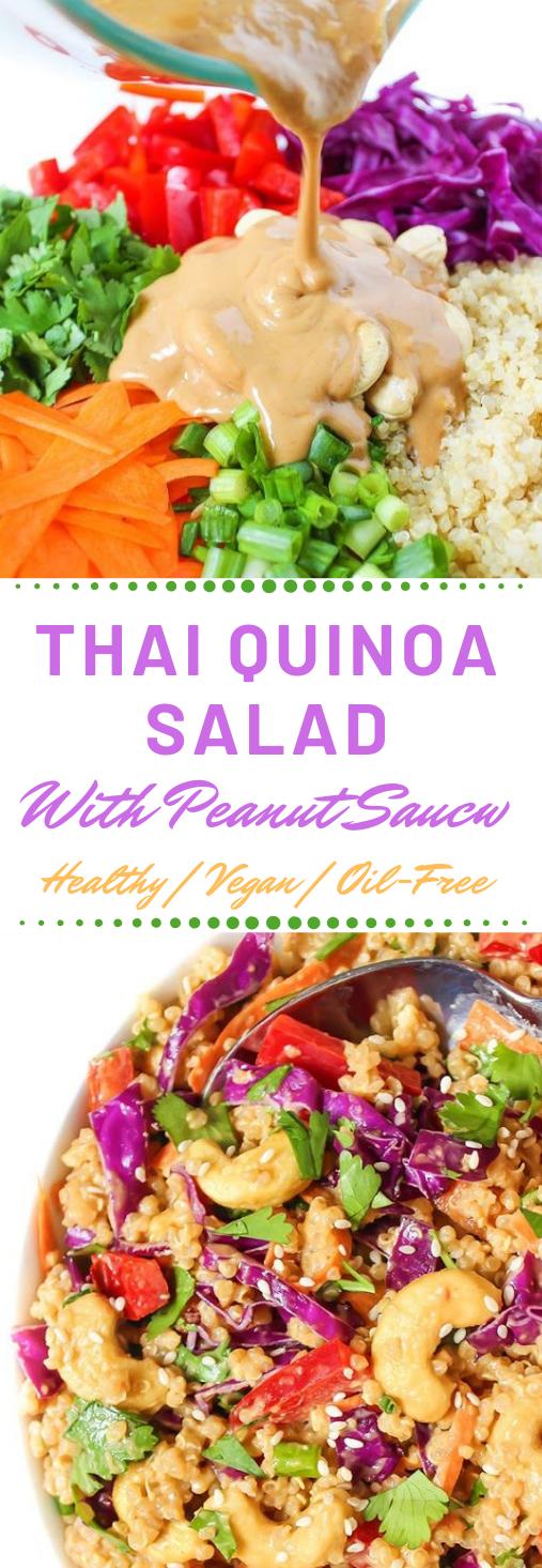 FRESH THAI QUINOA SALAD WITH PEANUT SAUCE #vegetarian #salad #sauce #yummy #vegetarian