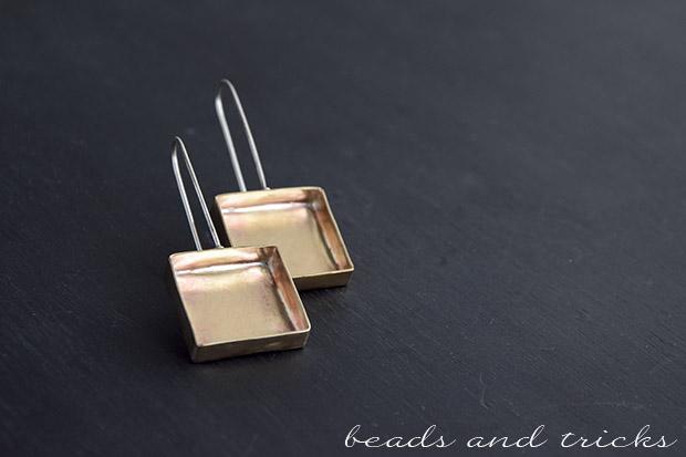 Orecchini in ottone e argento a forma di scatola