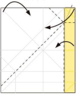 Bước 8: Gấp đồng thời 3 góc giấy vào trong như hình vẽ