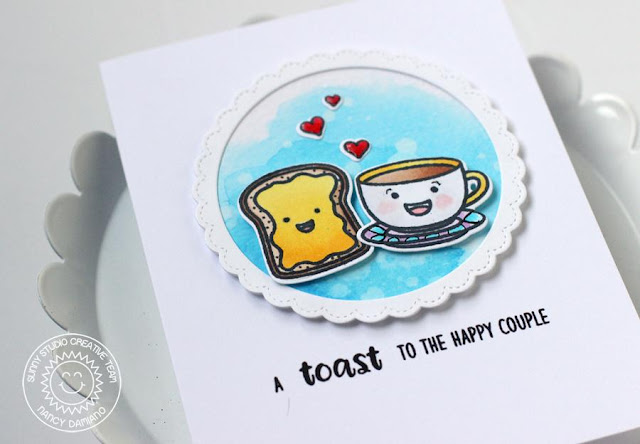 Sunny Studio Stamps: Breakfast Puns Toast To The Happy Couple Card by Nancy Damiano