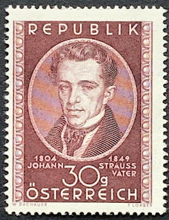Austria. Purple. Johann Strauss Portrait Stamp 1949