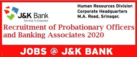 J&K Bank PO and Banking Associate Recruitment 2020