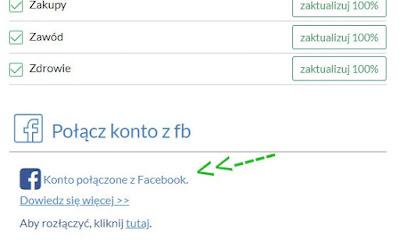 Opinie.pl., łączenie konta z Facebookiem.