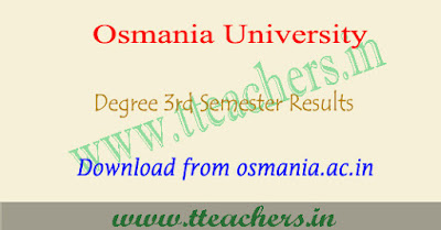 OU degree 3rd sem results 2018, Osmania university 2nd year result