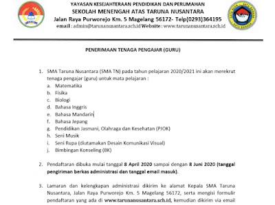 Penerimaan Tenaga Pengajaran (Guru) SMA Taruna Nusantara