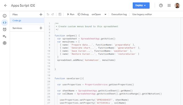 Use the new Apps Script Integrated Development Environment (IDE) Script Editor 1
